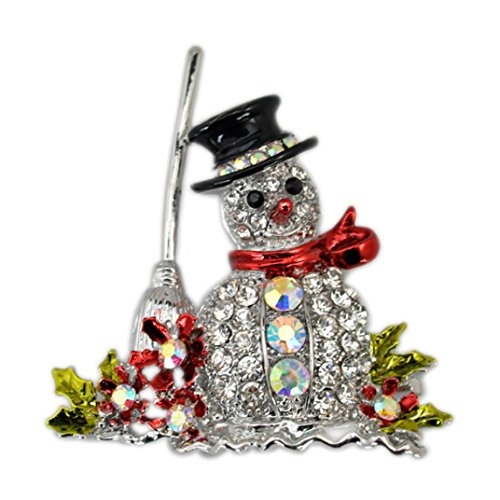 Gillberry Christmas snowman tree brooch pin Christmas gifts (silver)
