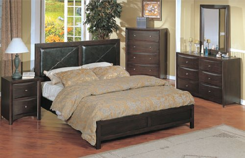 4pc Contemporary Dark Wood Queen Size Bed Set w/Night Stand & Dresser