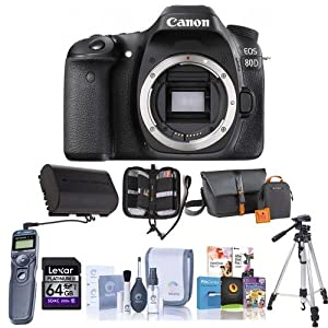 Canon EOS 80D DSLR Camera Body, Black - Bundle With Camera Bag, 64GB Class 10 SDHC Card, Spare Battery, Tripod, Remote Shutter Trigger, Memory Wallet, Cleaning Kit, Software Package,