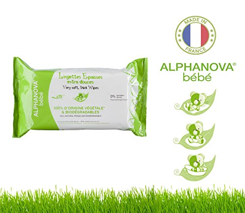 Alphanova Bebe-Natural & Organic, Thick & Strong Baby Wipes, 72 Count (1 Pack) - 1