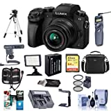 Panasonic Lumix DMC-G7 Mirrorless Micro Four Thirds Camera with 14-42mm Lens, Black - Bundle w/ Camera Case, 64GB SDXC U3 Card, Spare Battery, Tripod, Video Light, Shotgun Mic, Software Pack and More (Color: Black)