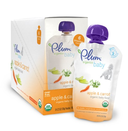 Plum Organics Baby Food, Apple & Carrot, 4.22-Ounce Pouches (Pack of 24)
