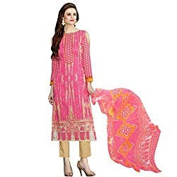 Shelina Women Pink Cotton Printed Dress Material