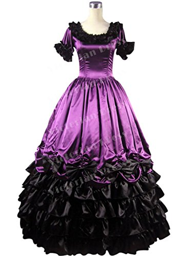 Southern Belle Civil War Ball Gown Dress Prom Satin Noble Purple And Black