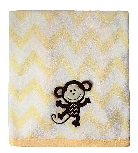 Little Beginnings Chevron Monkey Blanket, Yellow - 1