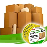 UBOXES, LLC Smart Moving Boxes Kit & Packing Supplies with Tape, 14 Pack (BIGGERBOXK01)
