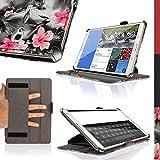 """igadgitz Rosa en Negro Floral Funda PU Cuero para Samsung Galaxy Tab S 8.4"""" SM-T700 con Soporte Multi Angle + Auto Sleep/Wake + Correa de mano integrado + Protector Pantalla"""