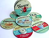 Martin Wiscombe Tin Hot Drinks Coasters, Set of 6, Assorted