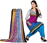 Gazbiyya Women's multicolor and blue colored Pure cotton Dress Material for Office and Daily wear
