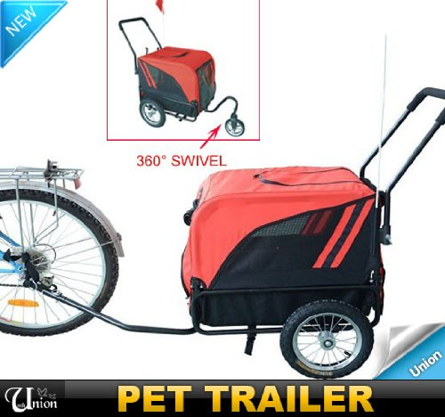 Frugah New Deluxe Pet DOG Bike Bicycle Trailer Stroller 360 Swivel Wheel PET Carrier