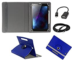 ECellStreet 360° Degree Rotating 7 Inch Flip Cover Diary Folio Case With Stand For Tescom Bolt 3 - Dark Blue + Free Aux Cable + Free OTG Cable
