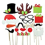 Tinksky A Set of 17pcs DIY Funny Glasses Moustache Red Lips Deer Horn Santa Hat On Sticks Christmas Wedding Party Photo Booth Props