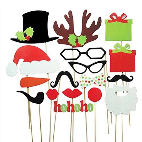 Tinksky Christmas Photo Booth Props 17pcs DIY Kit for Party Supplies, Featuring Glasses Moustache Red Lips Deer Horn Santa Hat