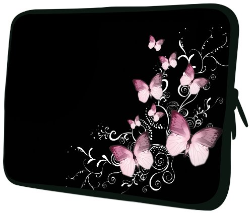 13 inch Pink Cosmo Butterflies Retro Floral Pattern Notebook Laptop Sleeve Bag Carrying Case for MacBook Acer ASUS Dell HP Lenovo Sony Toshiba