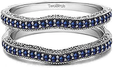 10k Gold Vintage Ring Guard with Millgrain and Filigree with Sapphire 048 ct twt