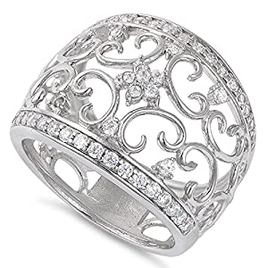Sterling Silver Filigree Flower Cz Ring - 16mm - Size 7