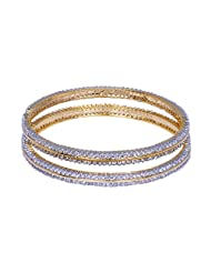 Gehna Handmade Pair Of Bangle Made In Metal Studded With Cubic Zircons