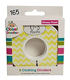 Closet Doodles C165 Yellow Gray Chevro Baby Closet Dividers Set of 6 Fits 1.25inch Rod