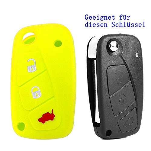 RotSale-1x-Gelb-Autoschlssel-Fiat-3-Tasten-Etui-Silikon-Schutzhlle-Tasche-Gehuse-Fernbedingung-Funkschlssel-Klappschlssel