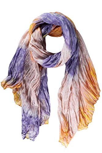 Peach Couture Stylish & Trendy Lightweight Crinkled Faded Tie Dye Scarf (Orange & Purple) (Purple Tie Dye Scarves compare prices)