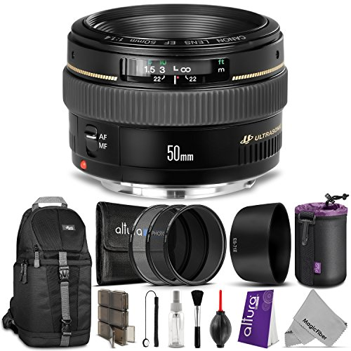 Canon-EF-50mm-f14-USM-Standard-Telephoto-Lens-w-Advanced-Bundle-Includes-Sling-Backpack-Altura-Photo-UV-CPL-ND4-ES-71II-Lens-Hood-Neoprene-Lens-Pouch-Memory-Card-Case-Camera-Cleaning-Set