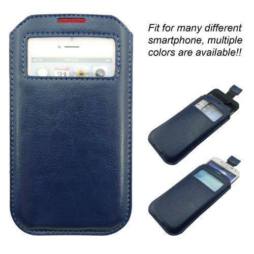 The Good Smartphone / mobile phone leather case bag, which fit different smartphone like iphone 5, iphone 4, iphone 4S, Samsung mobile phone, Nokia mobile phone, HTC mobile phone, Blackberry handset, etc. Order and get bonus: stylish touch pen for smart phone!! (tiefes Blau)