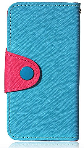 Mylife (Tm) Ocean Breeze Aqua Blue And Pink - Modern Design - Textured Koskin Faux Leather (Card And Id Holder + Magnetic Detachable Closing) Slim Wallet For Iphone 5/5S (5G) 5Th Generation Itouch Smartphone By Apple (External Rugged Synthetic Leather Wit