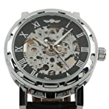 ESS Mens Black Leather Luxury Stainless Case Self-Wind Up Mechanical Automatic Watch WM125