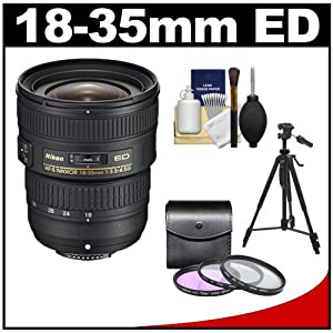 Nikon 18-35mm f/3.5-4.5G ED AF-S Zoom-Nikkor Lens with 3 UV/FLD/CPL Filters + Tripod + Accessory Kit for D3100, D3200, D5100, D5200, D7000, D7100, D600, D800, D4 DSLR Camera
