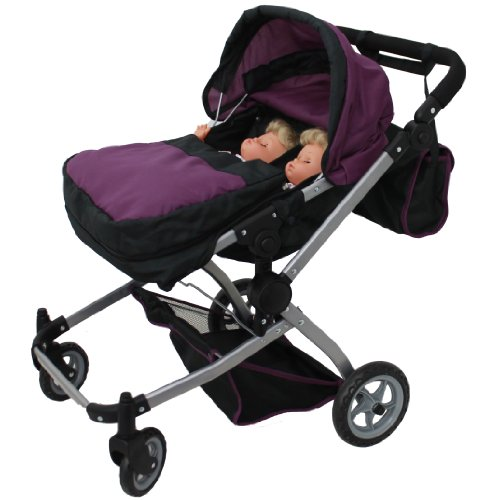 Babyboo Deluxe Twin Doll Pram Stroller Purple Amp Black With