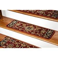 Dean Premium Nylon Carpet Stair Tread Rugs - Traditional Antique Cranberry 30