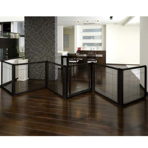 Richell Convertible Elite 6 Panel Pet Gate Black