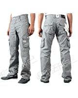 """MENS JEANS BNWT ENZO EZ169 GREY COATED COMBAT CARGO TROUSERS JEANS 28""""-48"""" BARGAIN PRICE £21.99-£26.99"""