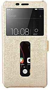 Grafins Double Window Caller ID PU Leather Flip Cover for Lenovo K5 Note (Gold)