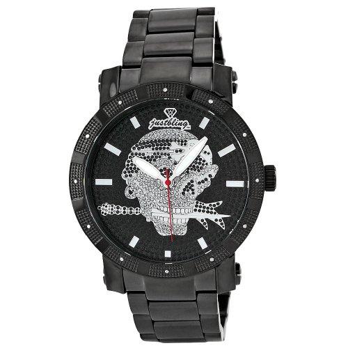 Just Bling Men's JB-8100-J Urban Black Ion Skull Diamond Watch