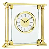 London Clock Co Brass Glass Finish Quartz Mantel Clock with Alarm