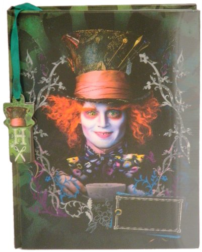 "Disney Mad Hatter Lenticular Diary (with Fabric Feel/Texture) 6"" x 8"" with Mad Hat Watermark"