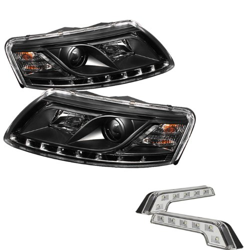 Carpart4U Audi A6 ( Non Quattro With Afs ) Drl Led Black Projector Headlights And Led Day Time Running Light Package