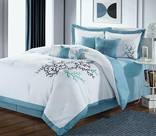 12Pc Coral Leaf White/Blue Luxury Bedding Set - Chocolate - Queen front-661117