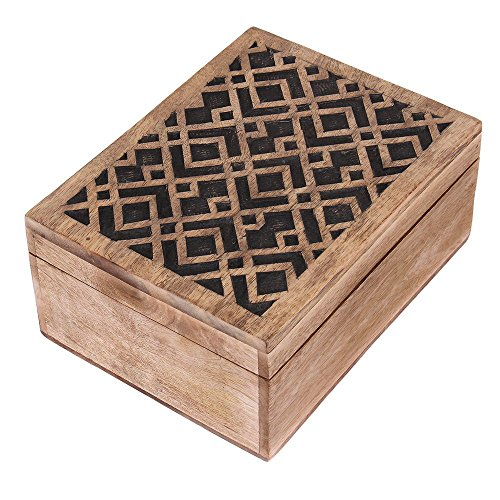 Rustic Wooden Keepsake Jewelry Trinket Box Organizer Multipurpose with Hand Carved Geometric Pattern