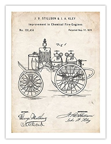 FIRE ENGINE INVENTION 1872 US PATENT ART RETRO VINTAGE ANTIQUE POSTER PRINT 18X24 FIRE-ENGINE STILLSON KLEY EQUIPMENT FIREFIGHTER FIREMAN GIFT (Firefighter Vintage compare prices)
