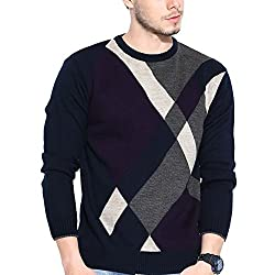 Duke Striped Round Neck Navy Casual Men's Sweater By Returnfavors