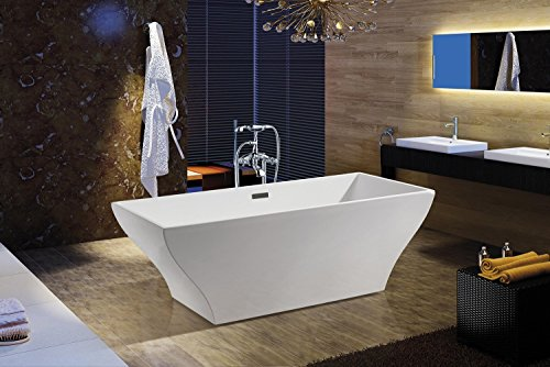 AKDY F296A+8713 Bathroom Combo, White Color Acrylic Freestanding Bathtub AZ-F296A With Tub Filler (Freestanding Bathtub Fixture compare prices)