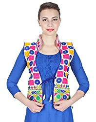 VASTRAA FUSION MULTICOLOURED EMBROIDERED COTTON COLLAR JACKET ON WHITE BASE - X SMALL