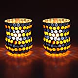 EarthenMetal Handcrafted Orange & Blue Polka Decorated Tealight Holder (Candle Light Holder)- Set Of 2