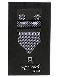 Magson Neo Men's Micro Fibre Jacquard Narrow Tie Combo, Ethan - Blue