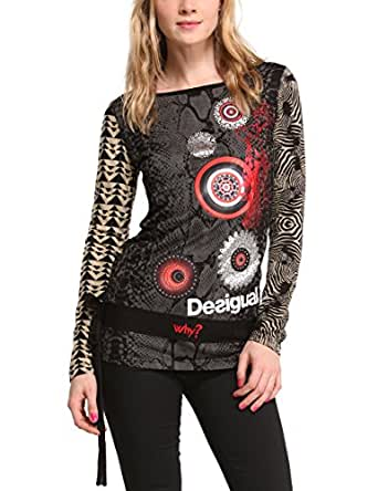 Desigual Moody - T-shirt - Col bateau - Manches longues - Femme - Noir (2000) - FR: 38 (Taille fabricant: S)