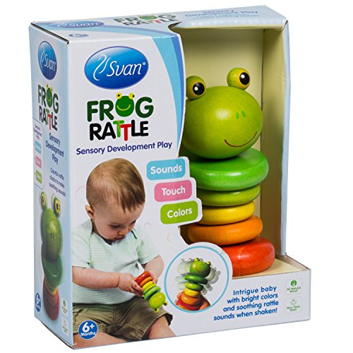 Frog Rattle by Svan - Made from All Natural Wood - Perfect for Baby Shower Gift, Your Baby Nursery!