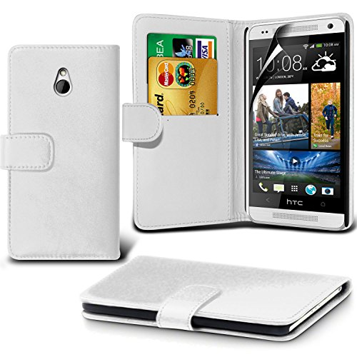 Fone-Case ( White ) Htc One Mini Faux Stylish Pu Leather Wallet Credit / Debit Card Flip Case Skin Cover With Screen Protector Guard