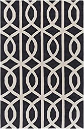 Charcoal & Ivory Designer Rug Contemporary 5-Foot x 7-Foot 6-Inch Hand-Made Overlapping Rings Carpet